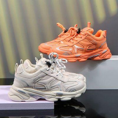 透气网面儿童运动鞋2021秋季新品男童鞋子皮面女童鞋小学生跑步鞋