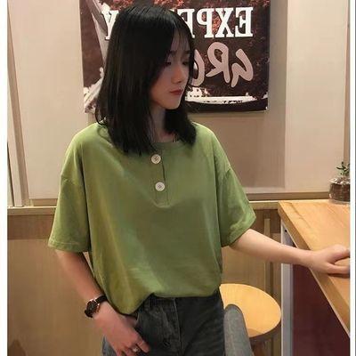 36834/棉质白色不规则上衣欧美系港风小衫洋气设计感小众纯色短袖t恤女
