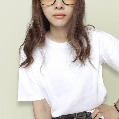 100%纯棉T恤女学生短袖衣服女装2021新款上衣体恤夏季常规版简约