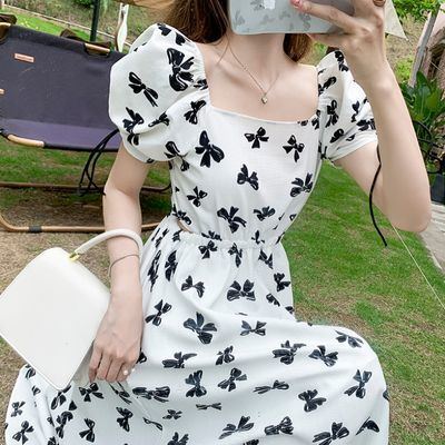 40751/夏季新款方领白色波点连衣裙女气质收腰显瘦不规则开叉雪纺长裙子