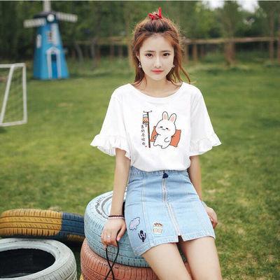 2021夏季新款印花韩版宽松t恤女装喇叭袖短袖T恤女学生上衣中袖潮