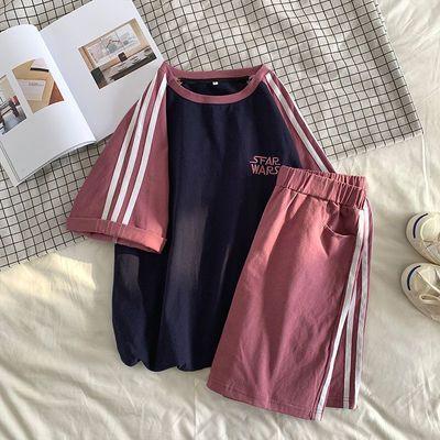 单件/套装休闲运动服套装女夏韩版学生宽松显瘦短袖短裤两件套潮