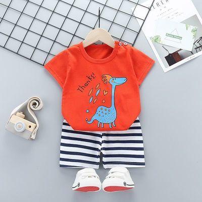 38872/童装男宝宝夏装套装2021新款幼儿衣服洋气女宝夏季纯棉短袖两件套