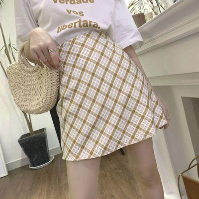 37102/夏季半身裙子女学生韩版宽松女装2021新款松紧腰a字裙格子松紧