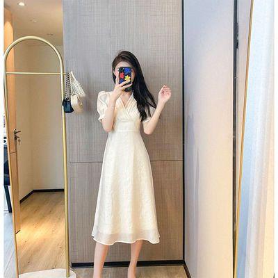 55889/十七直播间V领收腰气质高腰显瘦夏日连衣裙超仙法式茶歇长裙子