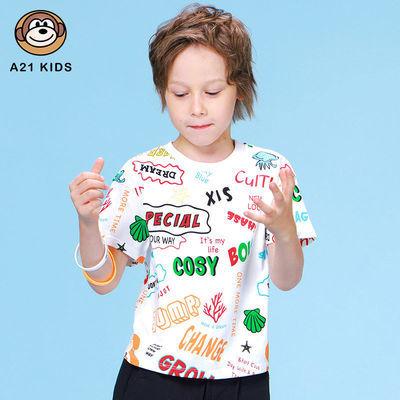 A21童装男童短袖T恤衫2021夏季新品儿童T恤上衣趣味字母印花薄款