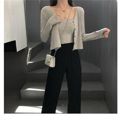 法式新款性感风三件套短款抹胸开衫外套+阔腿裤女ins休闲时尚套装