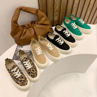 夏季薄款厚底帆布鞋女2021年新款布鞋小白鞋休闲鞋板鞋豹纹款女鞋