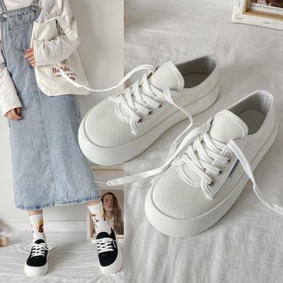 53038/马卡龙色帆布鞋女可爱日系风厚底百搭 圆大头ins潮圆头低帮小白鞋