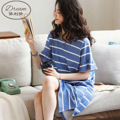 37078/100%纯棉睡裙女夏季薄款短袖2021年新款连衣裙韩版学生宿舍家居服