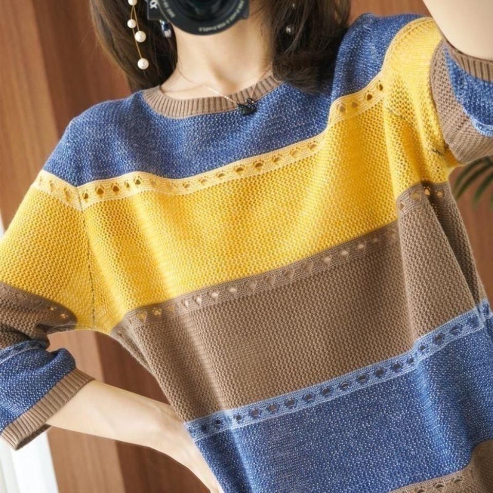 37847-薄款冰丝针织七分袖t恤女2021夏季新款圆领宽松彩色镂空打底衫潮-详情图