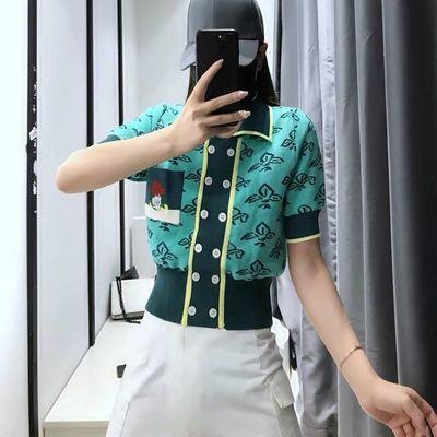 2021夏季新款复古气质双排扣短袖刺绣提花修身冰丝针织衫开衫上衣