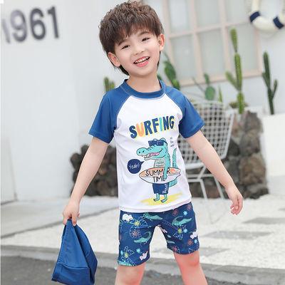 儿童泳衣男童可爱分体速干宝宝婴儿小童游泳衣套装男孩游泳衣