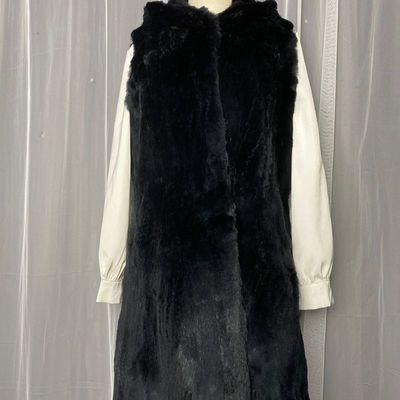 74259/初冬马甲外穿百搭修身显瘦长款獭兔毛外套女装衣长80断码断号特价