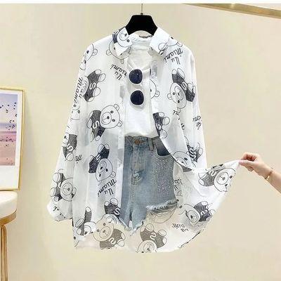 39666/防晒衣女2021新款雪纺衬衫中长款韩版洋气小熊印花长袖薄款外套潮