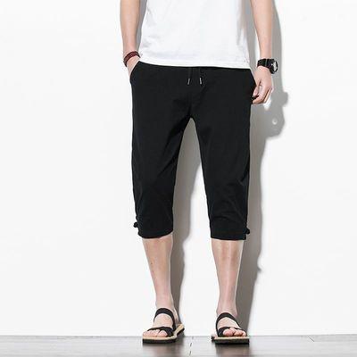 休闲裤男2021年夏季修身透气半裤运动黑色半裤青春学生简约短裤