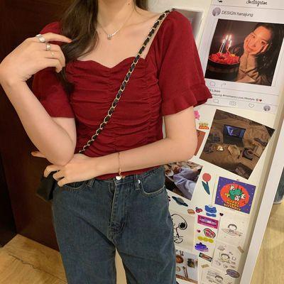 40474/网红短款t恤女装夏装2021年新款ins短袖冰丝针织衫高腰上衣服超火