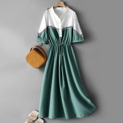 39816/海谧短袖连衣裙女2021夏季新款时尚休闲收腰显瘦撞色拼接薄款舒适