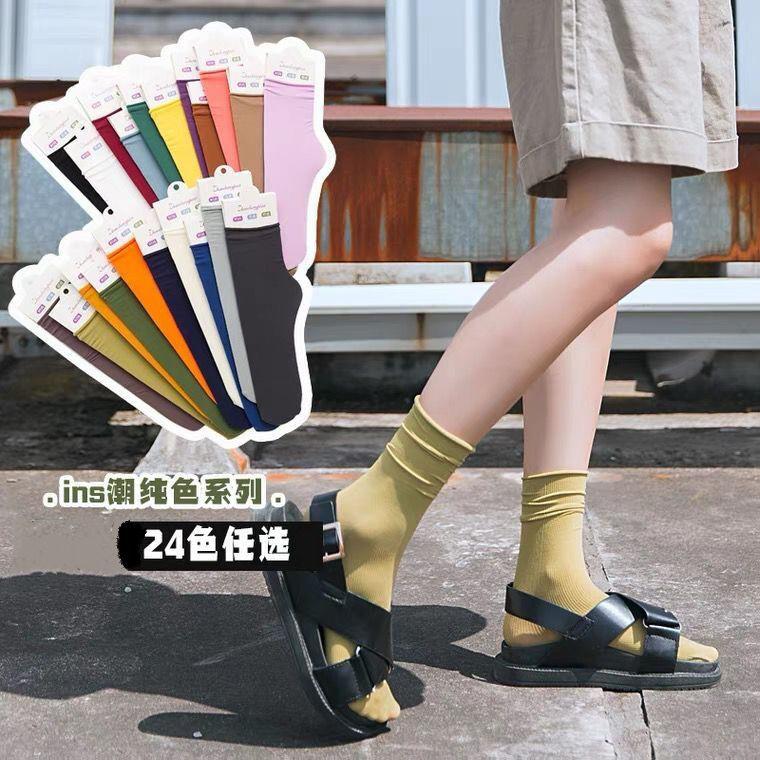 穿配凉鞋的袜子夏日冰冰袜薄款韩国凉鞋袜女中筒袜冰丝ins潮小腿