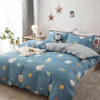 39112/磨毛纯色四件套床上用品双人床单被套床单人学生宿舍三件套