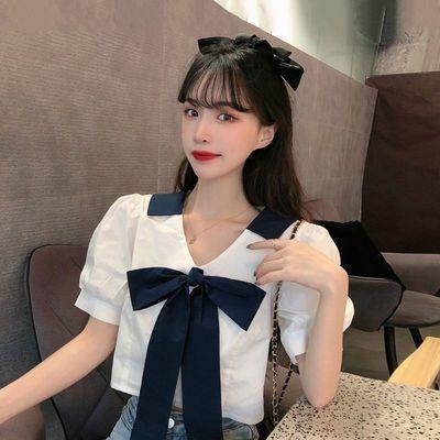 39678/夏季2021新款韩版修身显瘦设计感V领蝴蝶结泡泡短袖衬衫上衣女装