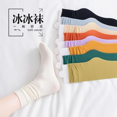 41119/堆堆袜夏季薄款女超薄冰冰长筒透气袜子女中筒韩版潮流ins学生袜