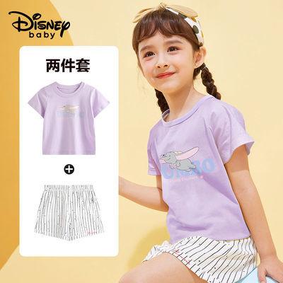 41339/迪士尼男女童短袖套装2021夏装新款中大童休闲短袖T恤短裤套装2件