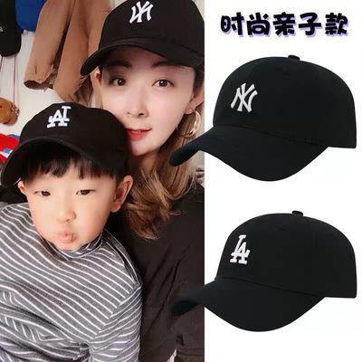 儿童帽子小标洋气潮牌NY男女孩夏遮阳鸭舌帽亲子百搭刺绣棒球帽子