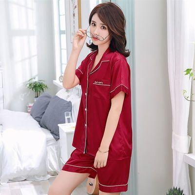 40724/缎面冰丝睡衣女夏季短袖丝绸薄款大码可外穿家居服套装仿真丝睡衣