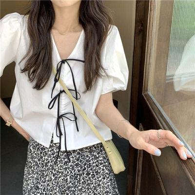 64577/少女减龄ins娃娃领衬衫女2021年新款夏季小众设计感短袖白色衬衣