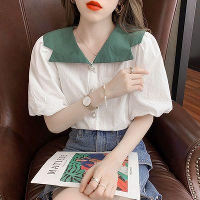 38684/泡泡袖衬衫短袖女夏装2021年新款百搭单排扣撞色娃娃领女士衬衫女