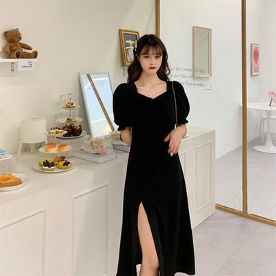 39414/春夏2021新款法式大码胖mm遮肚显瘦连衣裙设计感超仙a字开叉长裙