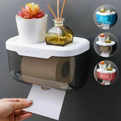 39117/创意卫生间纸巾盒厕所置物架厕纸盒免打孔卫生纸置物架防水抽纸盒