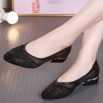 69704/新款高品质镂空网纱凉鞋女2021夏真软皮舒适软低跟外穿时尚妈妈鞋