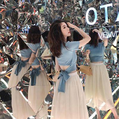 39422/夏季轻熟法式露腰t恤雪纺半身裙套装女时尚小个子显高洋气两件套