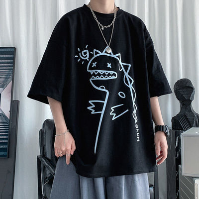 恐龙素描短袖T恤男潮牌潮流夏季ins高街大码宽松情侣上衣半袖短t