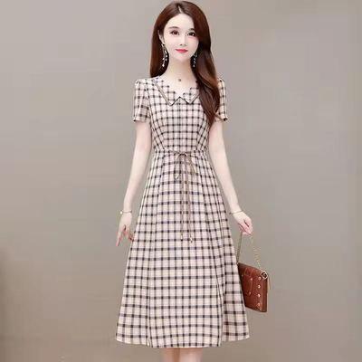 57525/娃娃领格子连衣裙女夏装2021年新款气质收腰显瘦高端小个子裙子