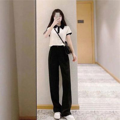 气质套装女韩版高腰西裤垂坠感直筒长裤+翻领修身短款上衣两件套