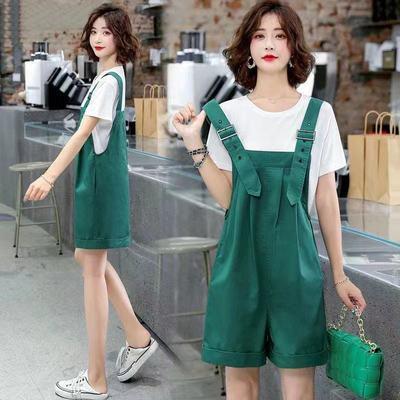 40656/背带裤短裤套装女夏季薄款时尚炸街减龄小个子洋气时髦显瘦两件套