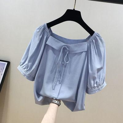 72648/大码女装胖妹妹漏锁骨一字肩衫女夏季新款高端法式减龄遮肚子小衫