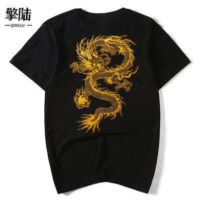 38770/中国龙烫金印花T恤男国潮个性纯棉透气上衣宽松圆领大码情侣短袖