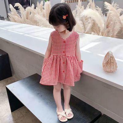 41401/女童格子背带连衣裙2021夏季新款女宝宝休闲洋气前后穿清新连衣裙