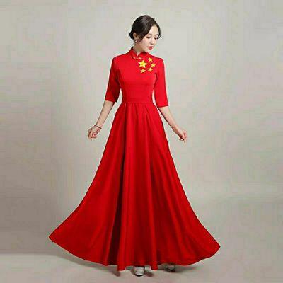 49822/大合唱团演出服女长裙诗朗诵比赛表演服装建党节红歌主持指挥礼服
