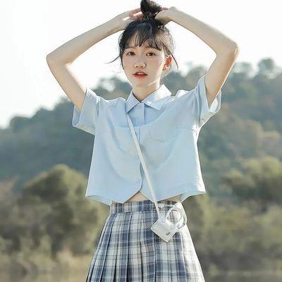 40477/学院风jk衬衫女2021夏季新款设计感小众白色短袖衬衣日系棉质上衣