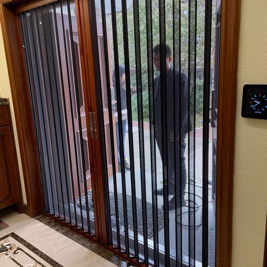 金刚网折叠纱门风琴式隐形折叠纱门金钢网纱门防蚊防鼠带锁防盗门