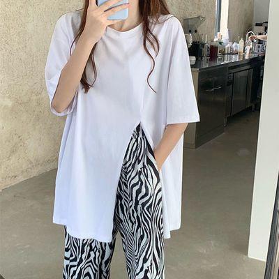 39149/夏季2021新款时尚女装短袖t恤女宽松韩版不规则开叉学生上衣女