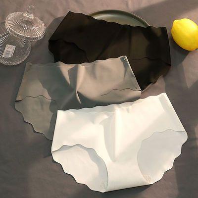 1/3条无痕冰丝内裤少女夏季清凉学生日系中腰透气薄三角裤黑白灰