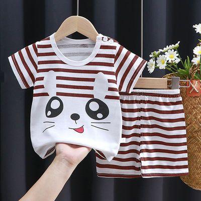 儿童短袖套装0-8岁夏季纯棉T恤男童韩版宝宝新款衣服女童套装