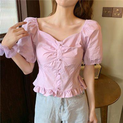 设计感小众法式复古方领泫雅短款泡泡袖衬衫少女夏蓝色半袖BM上衣