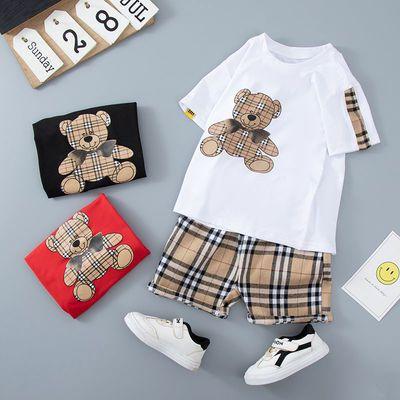 39413/儿童短袖套装2021夏季新款男女童装宝宝中大童上衣帅气洋气两件套